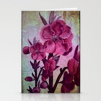 Pink Flowers And Rust Stationery Cards
