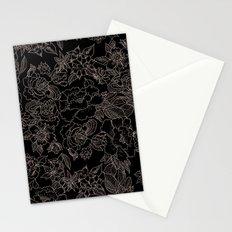 Pink coral tan black floral illustration pattern Stationery Cards