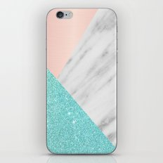 Real Italian Marble with Pink and Blue iPhone & iPod Skin