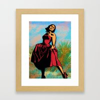 Happiness in a Red Dress Framed Art Print