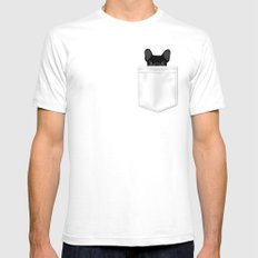 Pocket French Bulldog - Black White SMALL Mens Fitted Tee