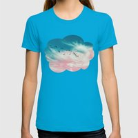 EVENING BIRDS Womens Fitted Tee Teal SMALL