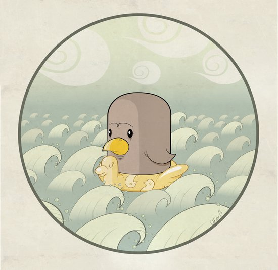Chick Across the Sea Art Print