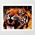 Fire Power Tiger Art Print
