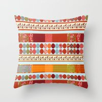 Red Pattern With Dots Throw Pillow