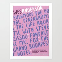 wes anderson Art Prints featuring Wes Anderson - Grand Budapest  by Laura Mace Design