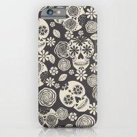 Sugar Skulls - Black & White iPhone 6 Slim Case