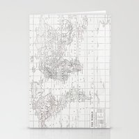 World Map ~ White on White Stationery Cards