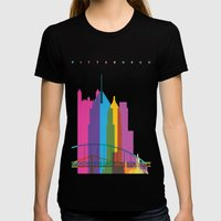 Shapes Of Pittsburgh. Ac… Womens Fitted Tee Black SMALL