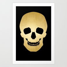 Gold Skull on black Art Print