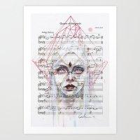 Queen of Diamonds on sheet music Art Print