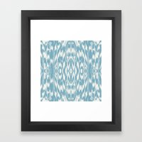 Ikat: Light Blue Ivory Framed Art Print