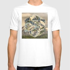 Geometric mountains 1 SMALL Mens Fitted Tee White