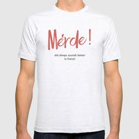 Merde - Shit always sounds better in french - funny Illustration Mens Fitted Tee Ash Grey SMALL