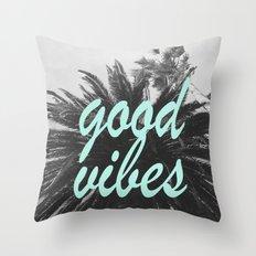 good vibes palm tree Throw Pillow