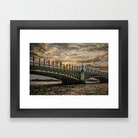 Sunset over Trinity Bridge, Saint Petersburg Framed Art Print