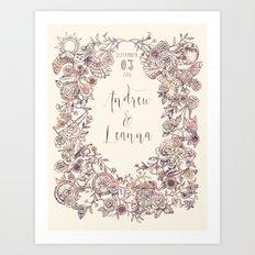 Floral Wreath Collage Art Print