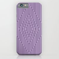 iPhone Cases featuring Square Optical Stripes In Purple by Bakmann Art