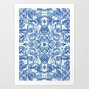 Pattern in Denim Blues on White Art Print
