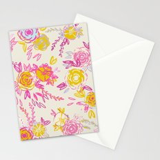 Flower garden in pink and yellow Stationery Cards