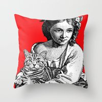 Young Girl With Cat Throw Pillow