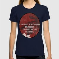 Jurassic Womens Fitted Tee Navy SMALL