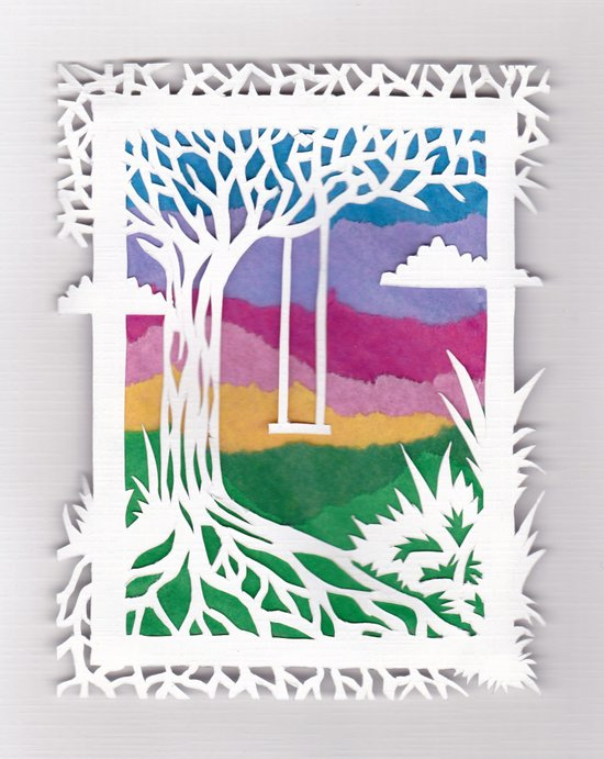 Sunset Swing Papercut Art Print