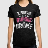 The Bullshit Of Innocenc… Womens Fitted Tee Tri-Black SMALL