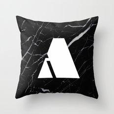 Black Marble - Alphabet A Throw Pillow