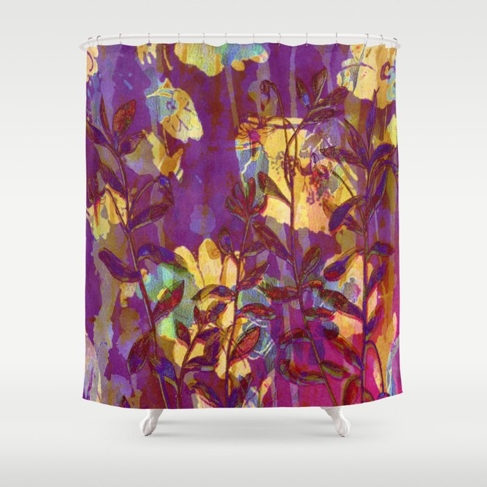 Yellow Flowers On Purple Shower Curtain By Clemm Society6