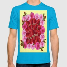 Strawberries  Art Design Pink Roses Yellow Mens Fitted Tee Teal SMALL