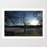 Snowy Sunset Art Print