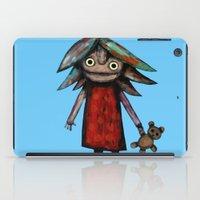 Girl vith teddy bear iPad Case