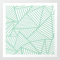 Abstract Lines Close Up Mint Art Print