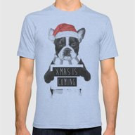 Xmas Is Coming Mens Fitted Tee Tri-Blue MEDIUM