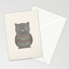Dark Gray Owl Stationery Cards