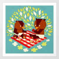 Picknick Bears Art Print