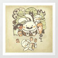 Bunnies And Carrots In T… Art Print