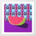 Fruit with Wallpaper (watermelon) Art Print