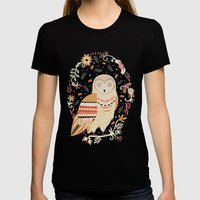 Snowy Owl Womens Fitted Tee Black SMALL