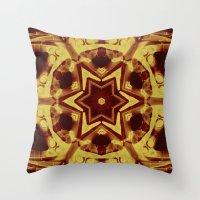 Star mandala in golden brown Throw Pillow