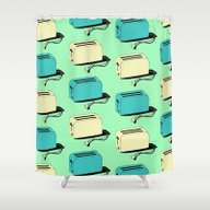 Toasters (mint & Cream) Shower Curtain
