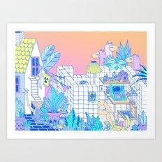 Backyard Llamas Art Print
