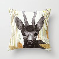 among the leaves (morning) Throw Pillow