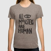 All Monsters Are Human  Womens Fitted Tee Tri-Coffee SMALL