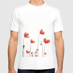 Poppy love SMALL Mens Fitted Tee White