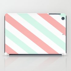 Mint and Coral Diagonal Stripes iPad Case