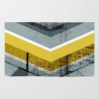 Grey & Yellow Chevron Rug