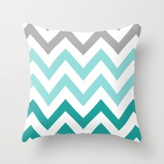 TEAL FADE CHEVRON Throw Pillow