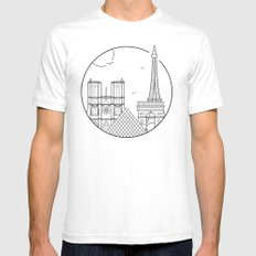 Paris Graphic Design White Mens Fitted Tee SMALL